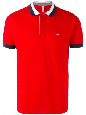 Рубашка-поло с контрастной окантовкой Sun 68. Цвет: красный