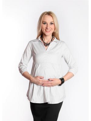 Блуза-рубашка Мамуля красотуля. Цвет: светло-серый, белый