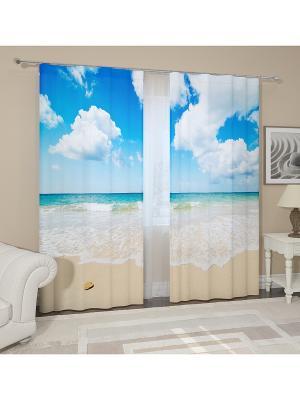 Фотошторы Карибское море Сирень. Цвет: желтый, белый, черный, синий, зеленый, голубой, фиолетовый, красный, оранжевый, розовый