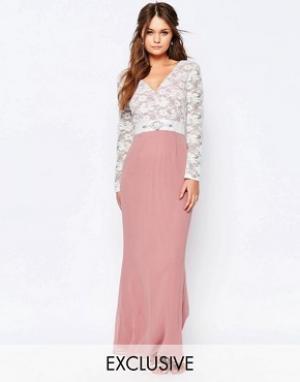 Elise Ryan Платье макси с кружевным лифом и отделкой на талии. Цвет: розовый