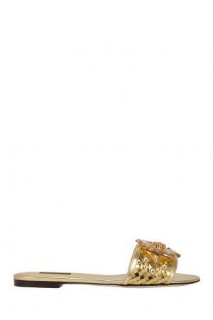 Сандалии с кристаллами Dolce&Gabbana. Цвет: золотой