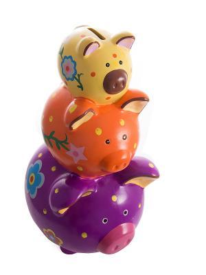 Копилка Свинка Русские подарки. Цвет: синий, оранжевый, желтый