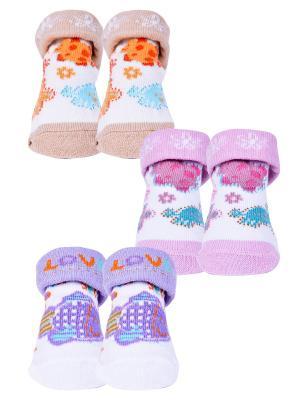 Носки, 3 пары Malerba. Цвет: сиреневый, бежевый, розовый