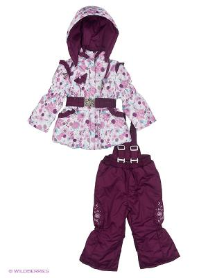 Комплект для девочки демисезонный /куртка, полукомбинезон/ Rusland. Цвет: сиреневый, светло-серый, темно-бордовый