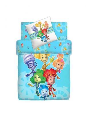 Комплект постельного белья 1.5 фиксики 100% хлопок м110.13.04 рис.4039-1 ФИКСИ-Друзья. Цвет: синий