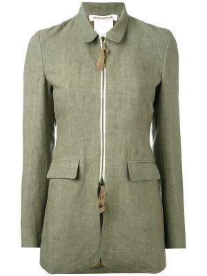 Приталенная куртка на молнии Cherevichkiotvichki. Цвет: зелёный