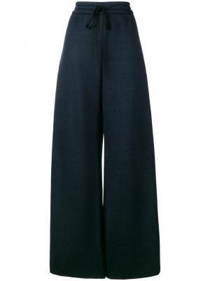 Широкие брюки на шнурке Adam Lippes. Цвет: синий