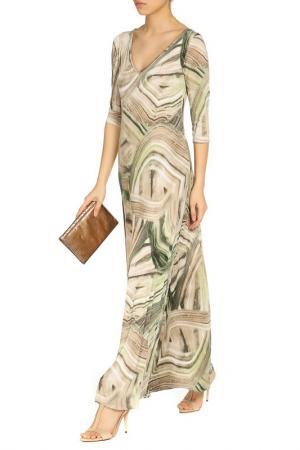 Платье в пол с принтом Alina Assi. Цвет: бежевый, оливковый