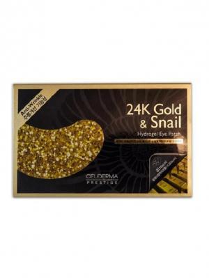 Гидрогелевые патчи для кожи вокруг глаз Сel-Derma Prestige 24K Gold and snail 4,7 гр.*4 шт.. Цвет: черный, золотистый
