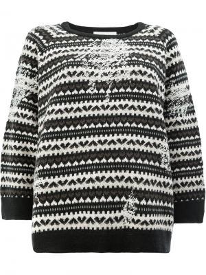 Вязаный свитер с узором из сердец Lamberto Losani. Цвет: чёрный