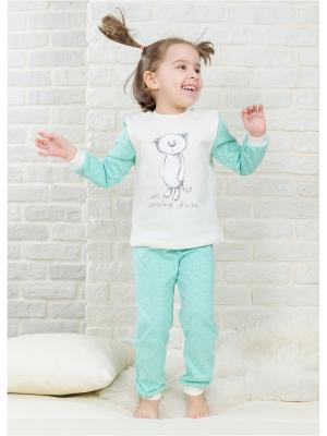 Пижама Веселый малыш. Цвет: светло-зеленый, молочный