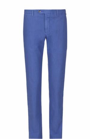 Хлопковые брюки прямого кроя Germano. Цвет: синий