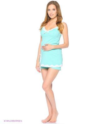 Пижама женская для беременных и кормящих ФЭСТ. Цвет: бирюзовый