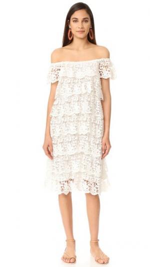 Платье с открытыми плечами Angelica Miguelina. Цвет: белый