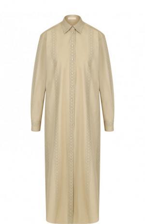 Хлопковое платье-рубашка свободного кроя Alaia. Цвет: бежевый