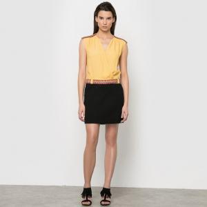 Платье из двух материалов, с тесьмой на поясе COLOR BLOCK. Цвет: желтый/ черный