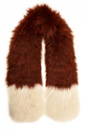 Шарф из меха лисы Yves Salomon. Цвет: бордовый