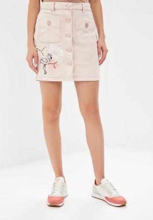 Юбка джинсовая Desigual. Цвет: розовый