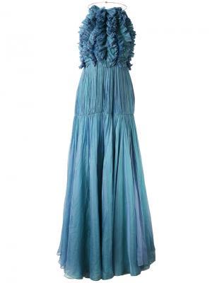 Платье макси Mousseline Maria Lucia Hohan. Цвет: синий