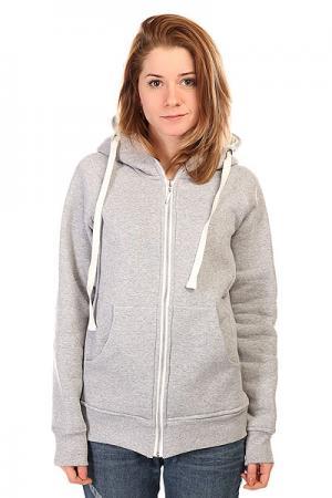 Толстовка классическая женская  Hoody Zip Heather Grey Emblem. Цвет: серый