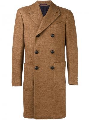 Двубортное пальто Alya The Gigi. Цвет: коричневый