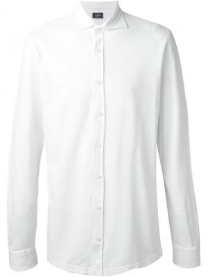 Рубашка из хлопка-пике Barba. Цвет: белый