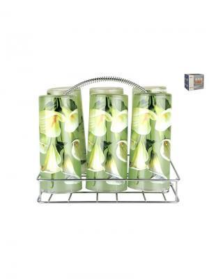 Набор стаканов на металлической подставке Калла Коралл. Цвет: зеленый