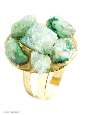 Кольцо Kameo-bis. Цвет: зеленый, золотистый