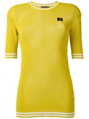 Трикотажный джемпер с перфорацией Rochas. Цвет: жёлтый и оранжевый