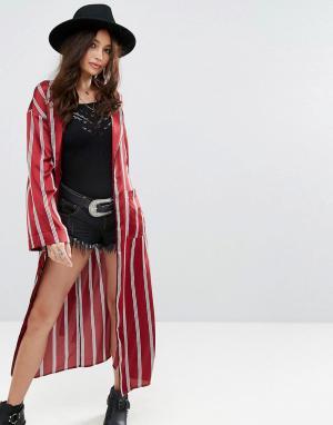 Honey Punch Свободный атласный пиджак макси в пижамном стиле с полосками Pun. Цвет: красный