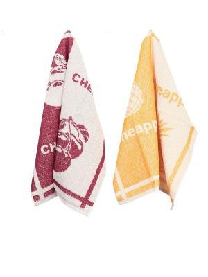 Набор махровых кухонных полотенец  2 шт ТекСтиль для дома. Цвет: белый, бордовый, желтый