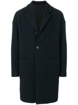 Однобортное пальто Mauro Grifoni. Цвет: синий