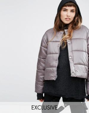 Puffa Дутая оversize-куртка без воротника. Цвет: stone