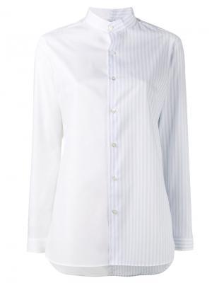 Полосатая рубашка без воротника Marie Marot. Цвет: синий