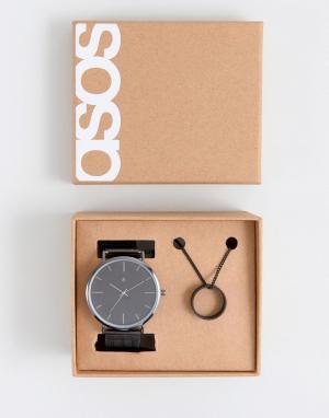 ASOS Черные часы и ожерелье в подарочном наборе. Цвет: черный