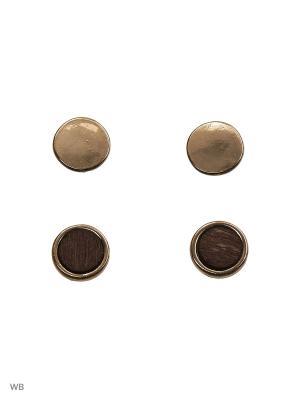 Набор серёг, 2 пар Modis. Цвет: коричневый, серебристый