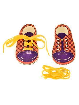 Шнуровка БОТИНКИ ШОТЛАНДКА (2 ботинка со шнурками) АНДАНТЕ. Цвет: темно-синий, красный, оранжевый