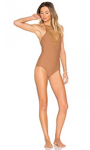 Слитный купальник teahupoo Acacia Swimwear. Цвет: коричневый