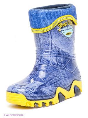 Резиновые сапоги DEMAR. Цвет: синий, желтый