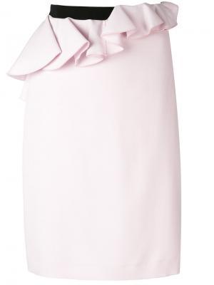 Асимметричная юбка с баской Giambattista Valli. Цвет: розовый и фиолетовый