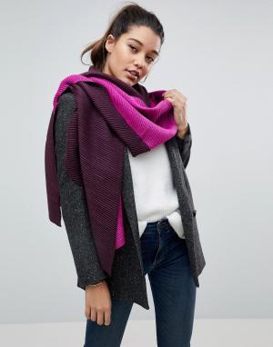 River Island Двухцветный оверсайз шарф-накидка. Цвет: розовый