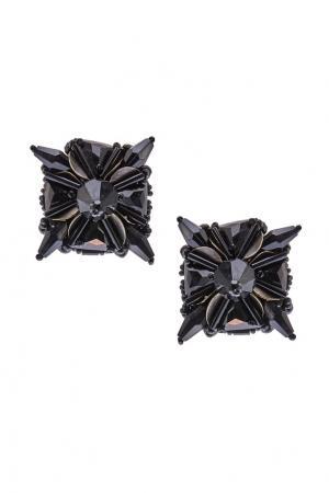 Серьги с кристаллами Prada. Цвет: черный