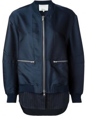 Куртка-бомбер с элементом рубашки 3.1 Phillip Lim. Цвет: синий