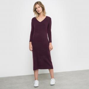 Платье длинное трикотажное La Redoute Collections. Цвет: серый меланж