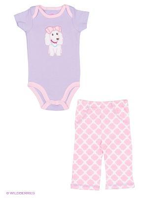 Комплект Боди к/р и штанишки Собачка Hudson Baby. Цвет: сиреневый