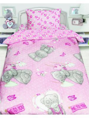 Комплект постельного белья 1,5 сп Teddy  с подарком Me to you. Цвет: серый, бежевый, розовый