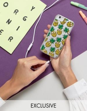 Skinnydip Чехол для iPhone 6/6S/7 с ананасами и пластиковыми глазами. Цвет: мульти