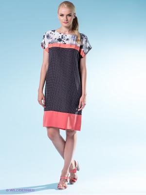 Платье 18CRR81 CERRUTI. Цвет: черный, коралловый