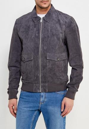 Куртка кожаная Mango Man. Цвет: серый