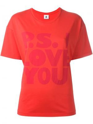 Футболка P.S. I love you Ps By Paul Smith. Цвет: красный